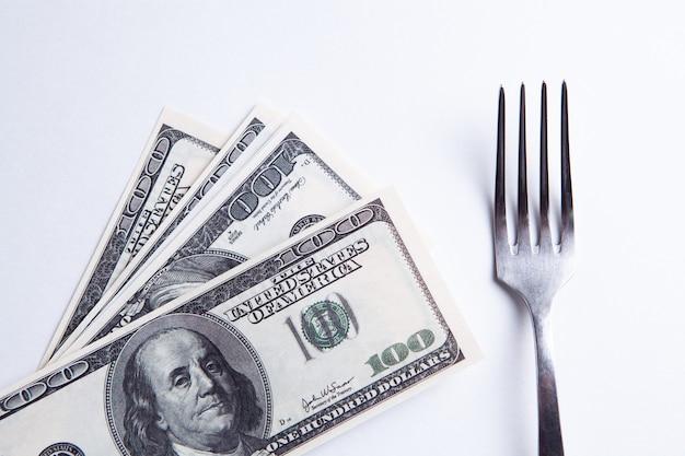 Comer dólares americanos - conceito de sucesso empresarial