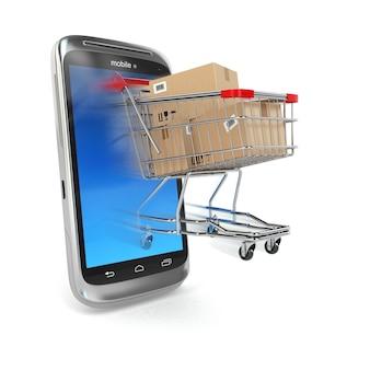 Comércio online telefone celular e carrinho de compras 3d