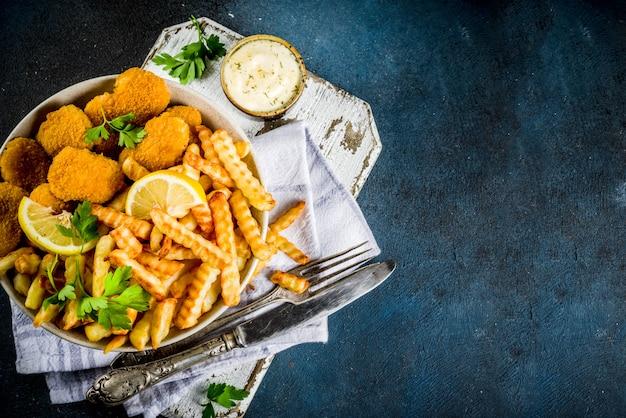 Comida britânica, peixe com batatas fritas
