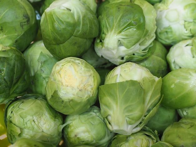 Comida com couve-de-bruxelas e legumes