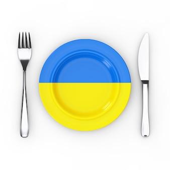 Comida da ucrânia ou conceito de cozinha. garfo, faca e prato com bandeira ucraniana em um fundo branco. renderização 3d