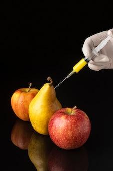 Comida de ciência ogm de peras e maçãs