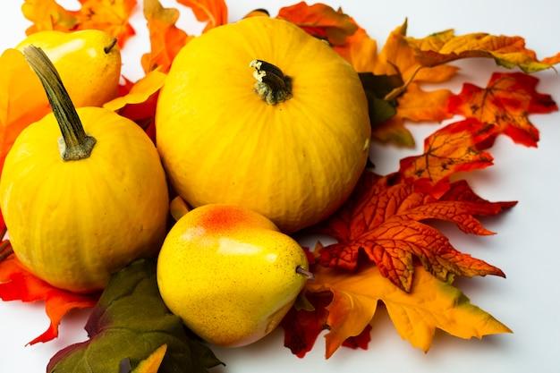 Comida de outono close-up com folhas