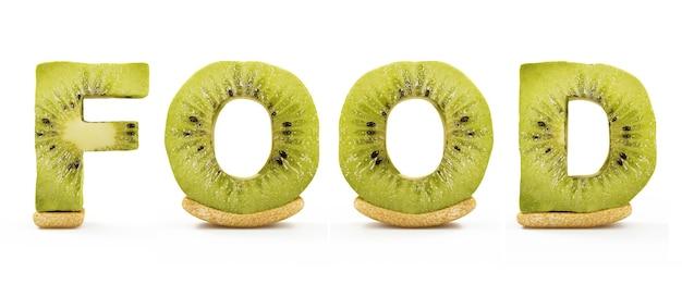 Comida de palavra feita de letras kiwi isoladas em branco