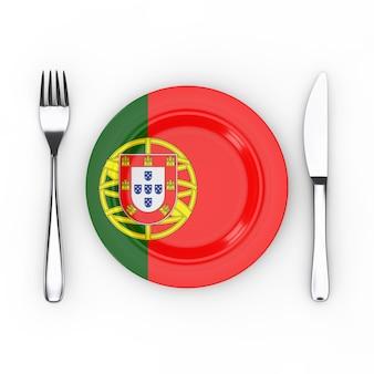 Comida de portugal ou conceito de cozinha. garfo, faca e prato com bandeira portuguesa em um fundo branco. renderização 3d