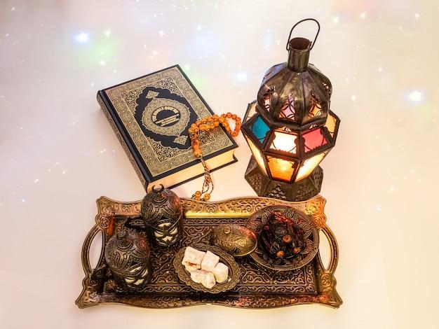 Comida de ramadã, comida de cultura tradicional muçulmana para a noite de ramadan kareem, oração para allah