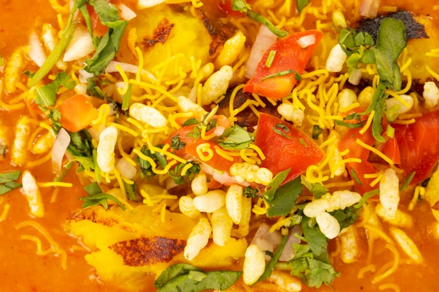 Comida de rua popular indiano ragda pattice