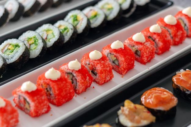 Comida de sushi closeup com foco suave