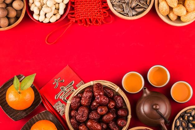 Comida e decoração do festival do ano novo chinês