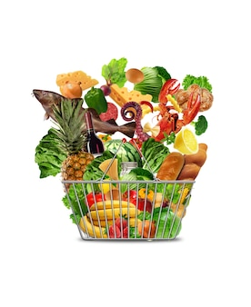 Comida fresca na cesta