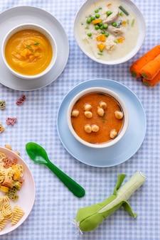 Comida infantil, canja de cenoura e canja de galinha