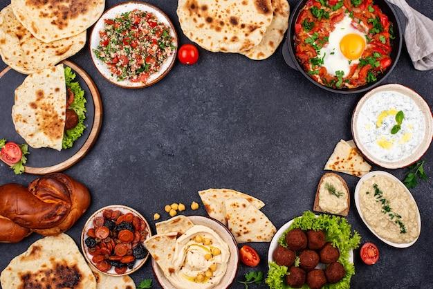 Comida judaica israelense tradicional e do oriente médio