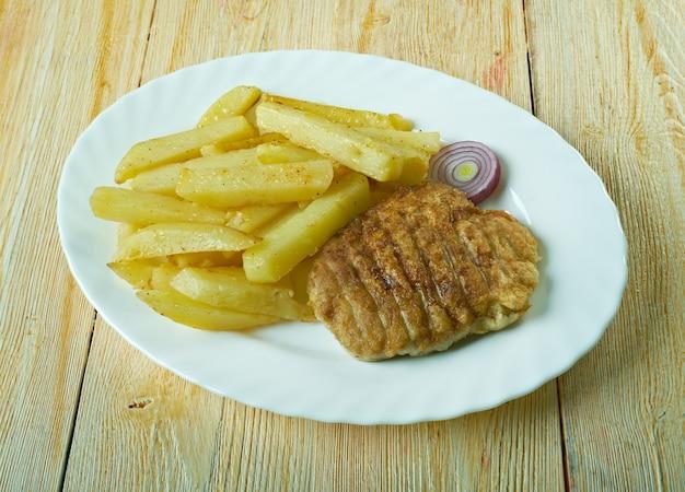 Comida king rib comumente servida em lojas de peixes e batatas fritas na escócia e no norte da inglaterra.