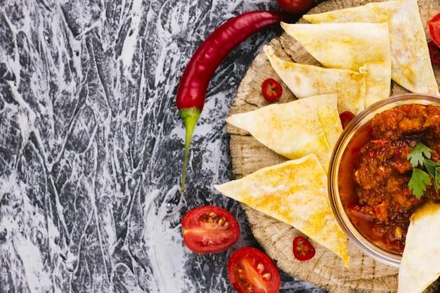 Comida mexicana no espaço da cópia