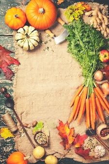 Comida saudável, cozinhar o fundo, vista superior, copie o espaço