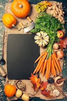 Comida saudável cozinhar, vista superior, copie o espaço