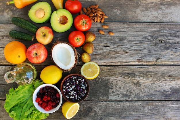 Comida saudável de origem vegetal. conceito de nutrição adequada.