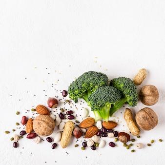 Comida saudável vegan. fontes de proteína vegetal
