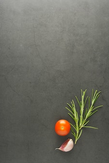 Comida simulada alecrim e tomate cereja