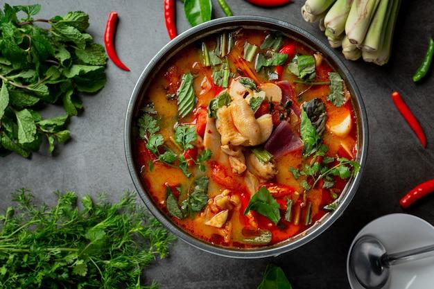 Comida tailandesa. sopa de tendão de frango picante.