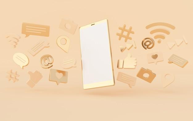 Como bate-papo comentário bolha câmera hashtag símbolo de rede sem fio wi-fi em ícones de jogo e smartphone