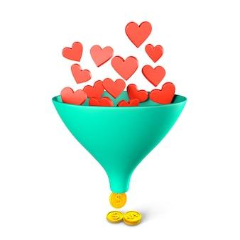Como o funil de vendas, os corações caem em um funil e você recebe moedas de dinheiro. lucro das redes sociais