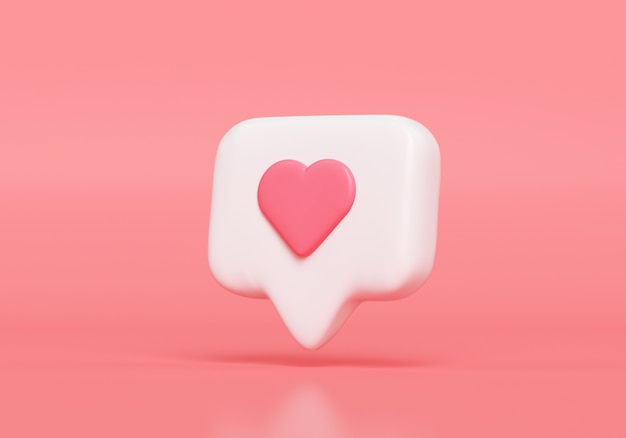 Como o ícone de notificação, ícone de notificação de mídia social com o símbolo do coração. renderização 3d