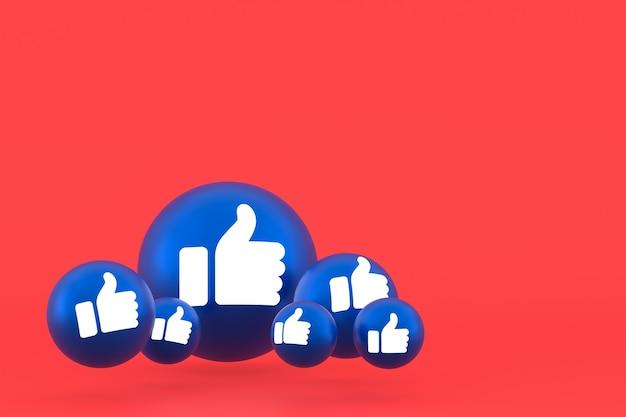Como o ícone de reação do facebook emoji render, símbolo de balão de mídia social em fundo vermelho