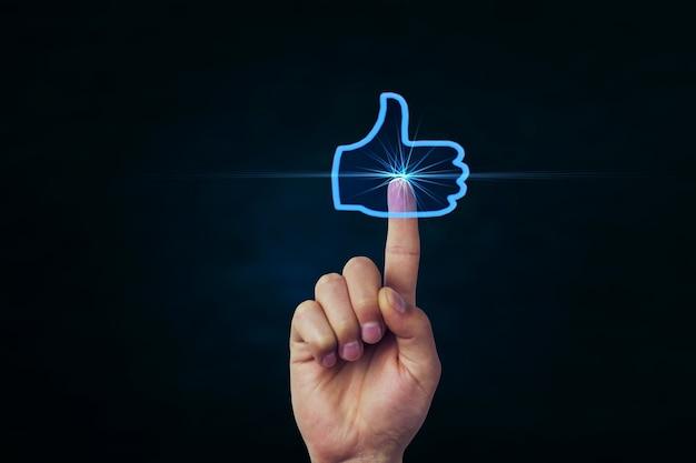 Como o símbolo de rede social em fundo azul escuro