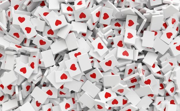 Como um ícone de coração em um alfinete renderizando notificação de mídia social