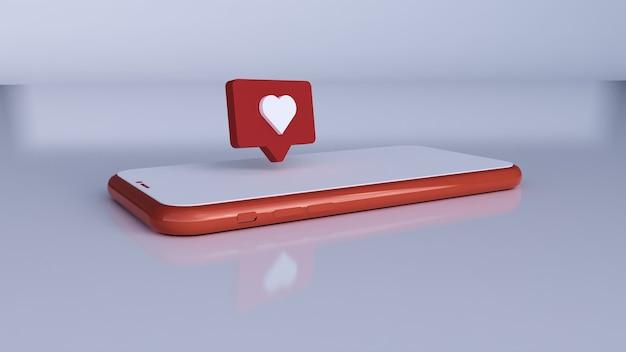 Como uma ilustração 3d. notificações de mídia social pelo telefone