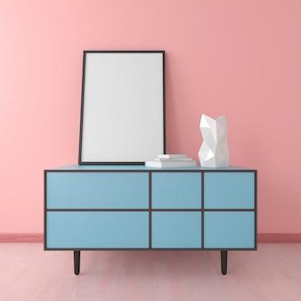 Cômoda azul com moldura e vaso em mock up d render no interior do quarto rosa