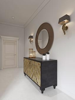 Cômoda luxuosa em estilo art déco com fachada dourada e pátina. espelho redondo sobre o peito e arandela. renderização 3d.