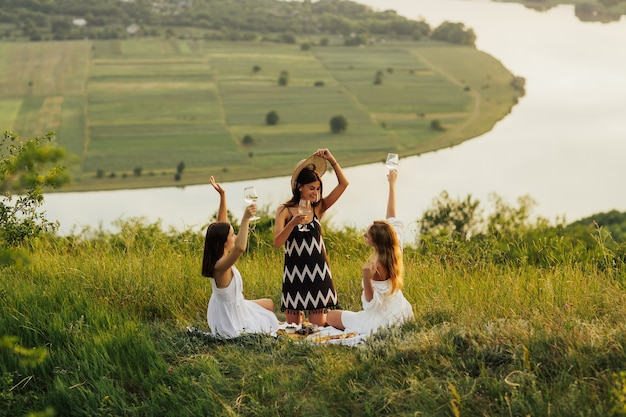 Companhia de lindas amigas se divertem, bebendo vinho branco e curtindo um piquenique ao ar livre.