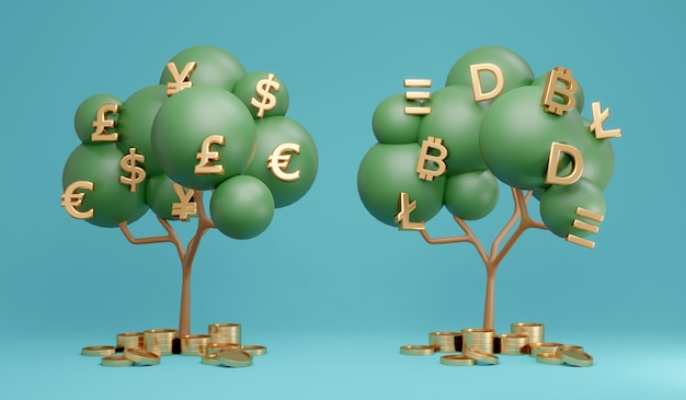 Comparação da árvore de dinheiro de renderização 3d da árvore da moeda fiduciária e da árvore da criptomoeda no fundo
