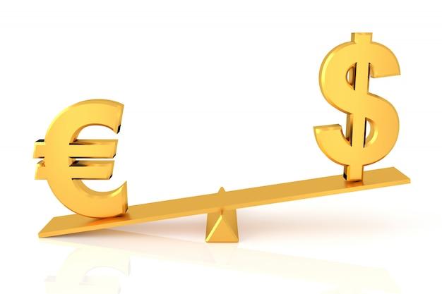 Comparação de dólar e euro. renderização em 3d.
