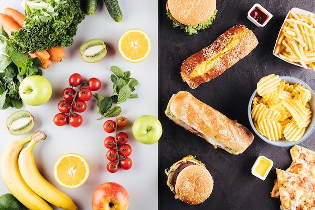Comparação entre comida saudável rápida e fresca