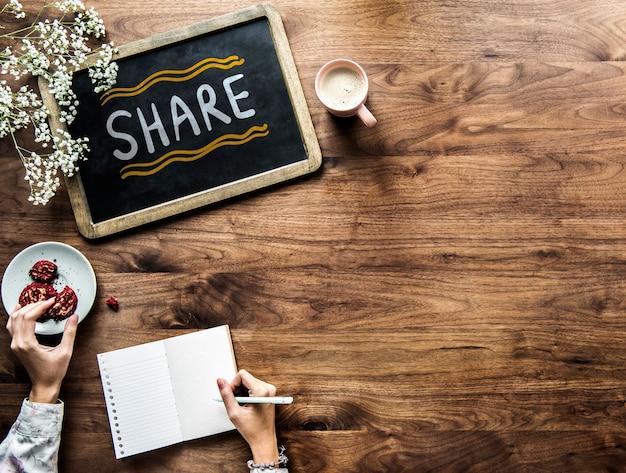 Compartilhar escrito em um quadro negro