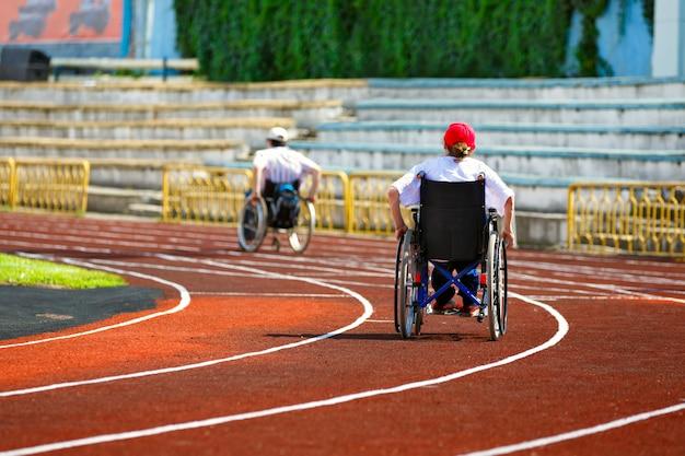 Competição com deficiência em wheelcha