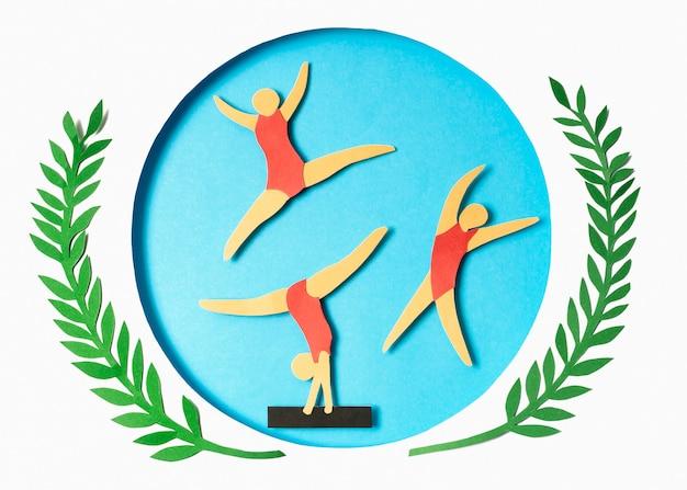 Competição de ginástica em papel