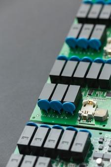 Componentes da placa de circuito de close-up