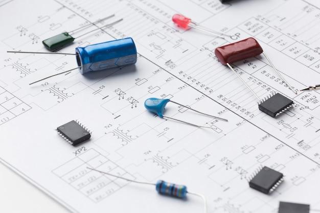 Componentes eletrônicos de close-up