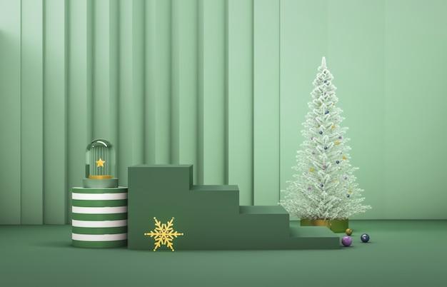Composição 3d abstrata. fundo de natal de inverno com árvore de natal e palco para a exposição do produto.