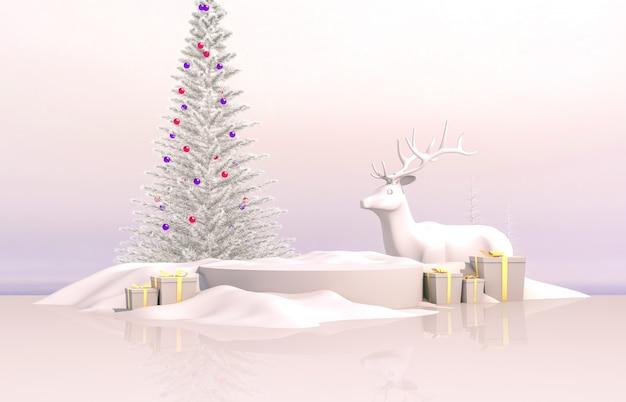 Composição 3d abstrata. fundo de natal de inverno com árvore de natal, rena e caixa de presente.
