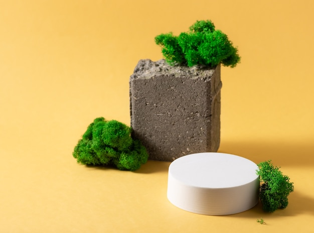 Composição abstrata com pódio branco, pedra natural e musgo