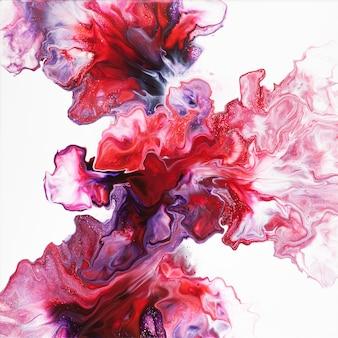 Composição abstrata de arte fluida colorida no fundo branco