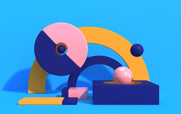 Composição abstrata de formas geométricas em estilo art déco e pódio para vitrine de produtos, formas multicoloridas em um fundo azul, renderização em 3d