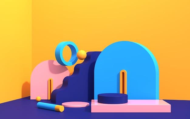 Composição abstrata de formas geométricas em estilo art déco e pódio para vitrine de produtos, formas multicoloridas, renderização em 3d