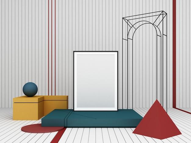 Composição abstrata de renderização 3d formas geométricas de cor no fundo branco para apresentação