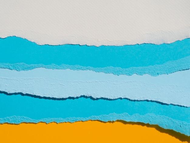 Composição abstrata do oceano com papéis coloridos